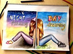 Night Thinking Day Dreaming colorful art artistic drawing day night – My CMS Best Friend Drawings, Bff Drawings, Amazing Drawings, Beautiful Drawings, Pencil Drawings, Amazing Art, Cute Love Drawings, Hard Drawings, Beautiful Pictures