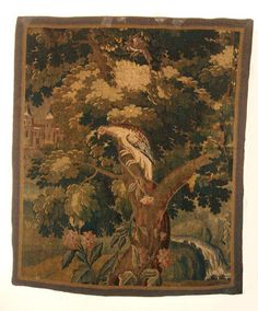 A Beautiful Antique Verdure Tapestry with Castle  Parrot Perched on Branch