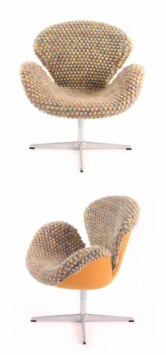 """""""Clothing for Furniture"""" by Sinje Ollen (Harlem) is a knit cover for Arne Jacobsen's Swan chair."""