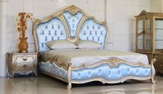 Luxury baroque bedroom in silver leaf and glazed finish