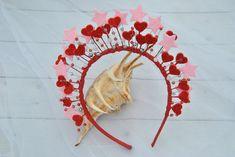 Red queen of hearts headband Pink star headpiece Glitter crystal headdress celestial crown Love heart Valentine Diy Headband, Headbands, Headdress, Headpiece, Minnie Mouse Headband, Heart Crown, Kids Bracelets, Kids Earrings, Pink Stars