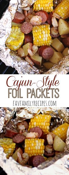 Cajun Grill Foil Packets - These tin foil dinners are SUPER easy and they don't . - Cajun Grill Foil Packets – These tin foil dinners are SUPER easy and they don't heat up your ho - Tin Foil Dinners, Foil Packet Dinners, Foil Pack Meals, Hobo Dinners, Grilling Recipes, Seafood Recipes, Cooking Recipes, Grill Meals, Cooking Foil
