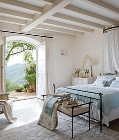 simply beautiful bedroom in Provence...light and bright, easy to replicate the look <3