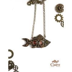 Steampunk Fish Pendant. Steampunk Fish necklace. Steampunk Jewelery. ($42) ❤ liked on Polyvore featuring jewelry, clay jewelry, victorian jewellery, victorian jewelry, fish jewelry and victorian pendant