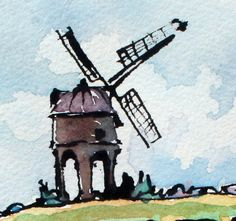 Mill on the Hill. Original watercolour gouache & by JanetTrynerArt