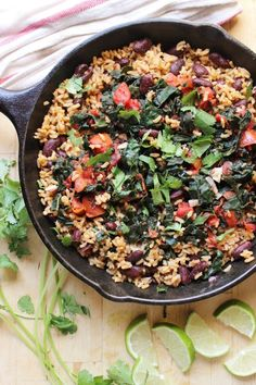 Garlicky Kale with Red Beans + Rice | @withfoodandlove