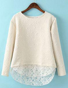 Beige Contrast Lace Geometric Pattern Sweatshirt - Sheinside.com
