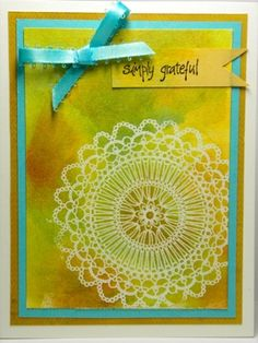 I CASED these 2 cards from a beautiful one in SplitcoastStamper's Member Gallery by Color_Blocked_Lace_by_SanFransister.jpg.  Cardstock: Gina K Designs  Stamps: Gina K Designs: Nana's Needlework, Rubbersoul  Inks: DIstress Inks: Broken China, Wild Honey, Burlap, Rusty Hinge (Card # 1)  Technique: Color Blocking with Distress Inks and Perfect Pearls (Clean and Simple Class # 6)