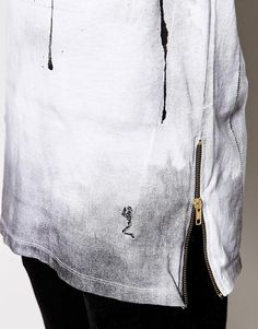 Religion | Religion Longline T-Shirt with Paint Print and Zips at ASOS