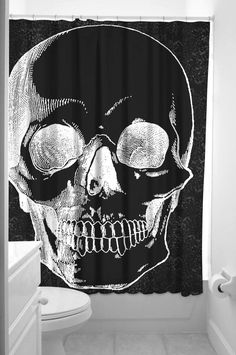 Sourpuss~Anatomical Skull Shower Curtain Bath Set~Retro~Gothic~Punk~Tattoo~Black #Sourpuss #Gothic