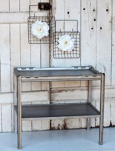 furniture makeover using martha stewart metallic silver paint