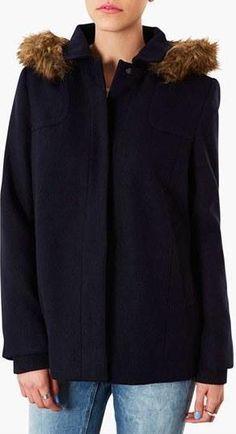 Faux Fur Trim Coat by Topshop