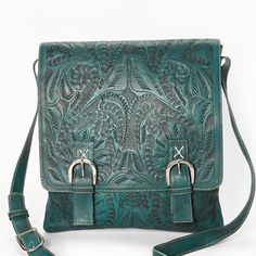 Leaders in Leather Vaquetta Tooled Flap Cross Body Handbag  www.maverickstyle.net