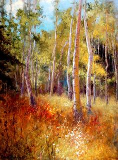 Behind the Daleys by Ann Hardy Oil ~ 40 x 30 Watercolor Trees, Watercolor Landscape, Landscape Art, Landscape Paintings, Contemporary Abstract Art, Impressionist Paintings, Autumn Art, Online Painting, Claude Monet