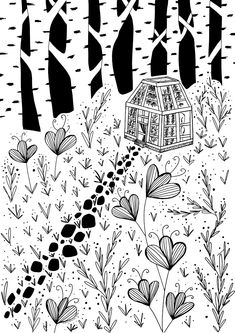A whimsical drawing of a fantastical garden and green house within a birch forrest.