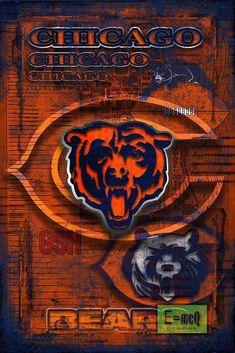 Chicago Bears Poster, Chicago Bears Art, Chicago Layered Art, Chicago Bears Old… Nfl Bears, Nfl Chicago Bears, Bears Football, Football Art, Football Season, Chicago Bears Wallpaper, Bear Wallpaper, Chicago Bears Pictures, Nfl Houston Texans