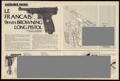 1980 LE FRANCAIS 9mm BROWNING PISTOL Exploded View~Parts List~Assembly Article…