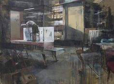 "Daniel Pitin - ""Cabinet"", 2009, oil, acrylic and paper on canvas, 155 X 210 cm"
