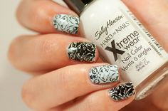 31 Day Challenge 2014: Day 7, Black and white nails #31DC2014 Stamping MoYou London Bridal plate 06