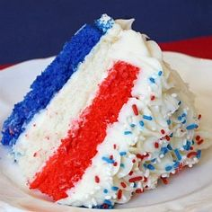 4th cake inspiration.  I bet the red layer and blue layer are red (or blue) velvet mixes