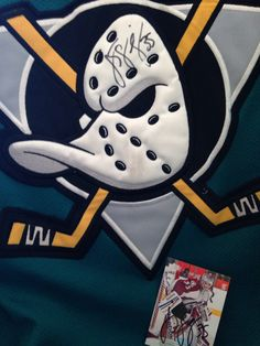 JS Giguere signature on my 1996 Mighty Ducks jersey Anaheim Ducks, Ice Hockey, Nhl, Cards, Coat Of Arms, Sports, Maps, Playing Cards, Hockey Puck