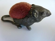 ANTIQUE FIGURAL PIN CUSHION - CROUCHED MOUSE FIGURE