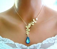 Blue Gold Necklace Bermuda Blue Orchids Peacock Wedding Bridal $52.99