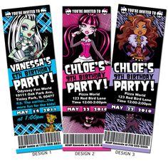 Monster High Birthday Party Custom Ticket Invitation
