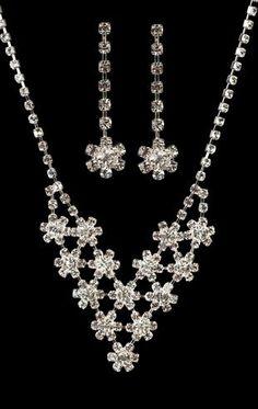 Rhinestone v-shape flower jewelry set $6.20