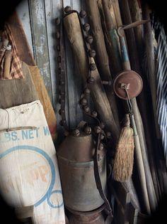 So perfectly primitive. Old rusty farm bells. Love em!