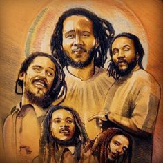 I could put this anywhere, but since they are Marley Gentlemen--well drawn--I decided to put them here. Clockwise: Ziggy, Kymani, Julian, Stephen and Damian. Bob Marley Kids, Marley Family, Marley Brothers, Julian Marley, Jah Rastafari, Reggae Artists, Bob Marley Quotes, Reggae Music, African Art