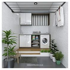 Image may contain: plant and indoor laundry area ideas mesincuci Outdoor Laundry Rooms, Indoor Outdoor Kitchen, Modern Laundry Rooms, Laundry Room Bathroom, Laundry Room Organization, Best Bathroom Designs, Bathroom Design Small, Laundry Room Design, Home Room Design