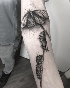 Caterpillars and butterfly sleeve tattoo - 100+ Amazing Butterfly Tattoo Designs