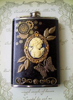 Steampunk Stainless Steel Flask with Antiqued by DesignsByFriston