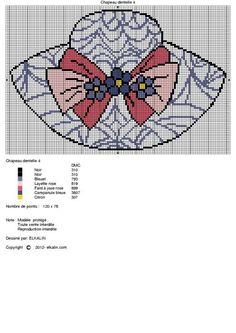 0 point de croix chapeau dentelle - cross stitch lace hat