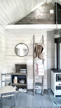 Scandinavian style fishing cottage interior