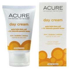 Day Cream by Acure Organics 175 ounce ; Face the day with Gotu Kola Stem Cells, shown to firm and help your skin fight environmental damage and free radicals, and 1 percent Chlorella Growth Factor, shown to support collagen and elastin fibers. This powerhouse combo helps fight off the... FULL ARTICLE @ http://www.sheamoistureproducts.com/store/acure-day-cream-gotu-kola-stem-cell-1-chlorella-1-75-oz/?b=3910