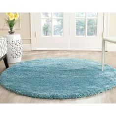 Safavieh Milan Shag Aqua Blue 5 ft. 1 in. x 5 ft. 1 in. Round Area Rug - SG180-6060-5R - The Home Depot