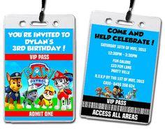Paw Patrol Birthday Party Invitation Lanyards Kids