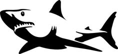 Pics For > Great White Shark Clipart Black And White