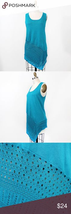 """•SALE• Teal Knit Pointelle Asymmetrical Tank Top Sleeveless sweater knit tank top with asymmetrical hem and pointelle detail.   • Bust: 18"""" armpit to armpit • Length: 33"""" to longest point  • Rayon/polyester blend  🔹 Next business day shipping.  🔹 Sorry, no trades. Grace Elements Tops Tunics"""