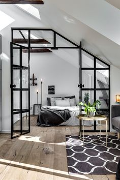 1001 ideas for the modern top floor apartment - attic apartment set up examples black white design bed bedroom - : ? 1001 ideas for the modern top floor apartment - attic apartment set up examples black white design bed bedroom - House Design, Interior, Home Bedroom, Modern Studio Apartment Ideas, Industrial Interior Design, Bedroom Design, Home Decor, House Interior, Interior Design
