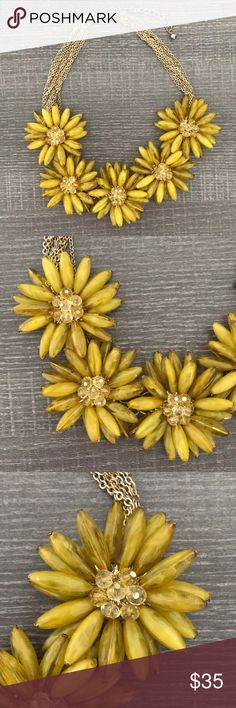 Flower Statement Necklaces Mustard color necklace beaded flowers. Never worn. New without tags Anthropologie Jewelry Necklaces