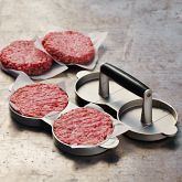 The Double Patty Burger Press gives you evenlly pressed buns for easy grilling for great summer patties! Cooking Gadgets, Cooking Tools, Cool Kitchen Gadgets, Cool Kitchens, Burger Recipes, Gourmet Recipes, Burger Perfect, Bbq Supplies, Food Presentation