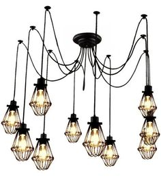 Cage Pendant Chandelier - 5 , 7 , 9, or 14 Black Modern lighting Industrial Chandelier. Black Hanging Pendants Rustic Lighting