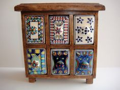 Wood Chest Ceramic Drawers Spice Herb by SusieSoHoCollection, $40.00