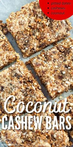 Coconut Cashew Bars require just a couple of ingredients, and a few minutes to make. Chewy, delicious coconut cashew bars that are so addictive. If you love Larabars you will love this recipe. #coconut #chewy #cashew #dates #recipe #snack #larabar Yummy Healthy Snacks, Salty Snacks, Healthy Cookies, Baking Recipes, Snack Recipes, Dessert Recipes, Bar Recipes, Appetizer Recipes, Breakfast Recipes