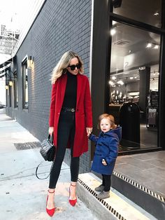 Kid-Friendly Travel Destinations - red coat, monochromatic outfit, Toddler style, Burberry blue coat