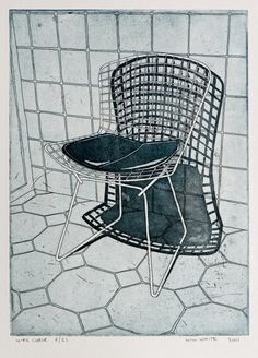 Original Etching - 'Wire Chair' - Etching by William White - Original Print - Black and White Etching - Free Shipping - Etsy.com