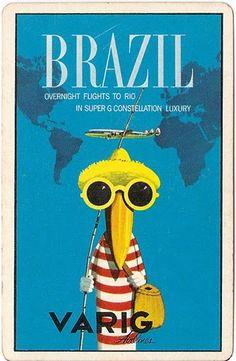 Varig Airlines, Brazil travel poster Rio